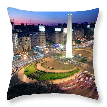 Throw Pillow featuring the photograph Buenos Aires Obelisk by Bernardo Galmarini