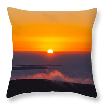Cadillac Mountain Sunset.  Throw Pillow