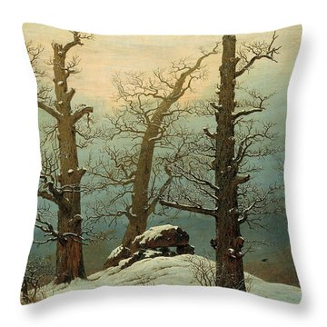 Cairn In Snow Throw Pillow