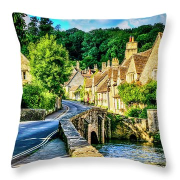Castle Combe Village, Uk Throw Pillow