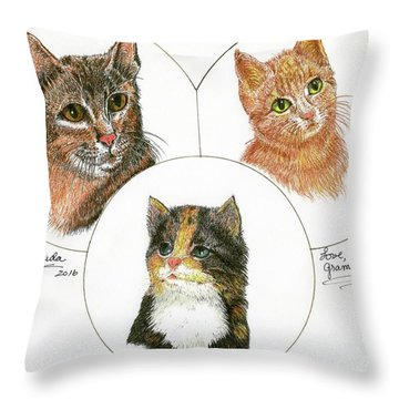 3 Cats For Juda Throw Pillow by Bill Hubbard