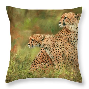 Cheetahs Throw Pillow by David Stribbling