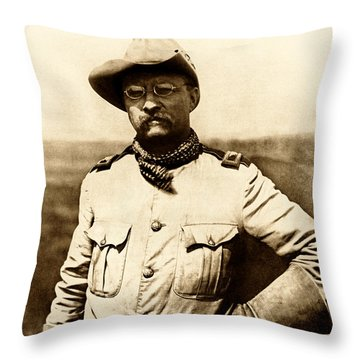 Throw Pillow featuring the photograph Colonel Theodore Roosevelt by War Is Hell Store