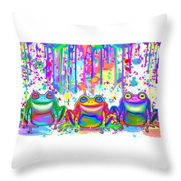 Throw Pillow featuring the painting 3 Colorful Painted Frogs by Nick Gustafson