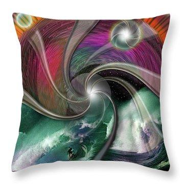 Cosmic Surfer Throw Pillow