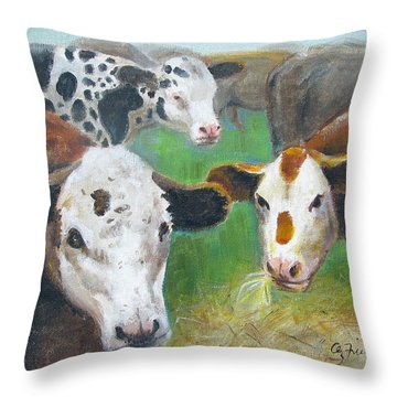 3 Cows Throw Pillow