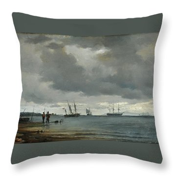 Danish Seascape Throw Pillow by Carl Frederick