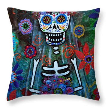 Day Of The Dead Bride Throw Pillow by Pristine Cartera Turkus
