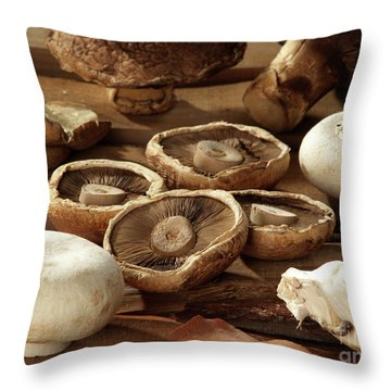 Different Types Of Mushrooms Throw Pillow