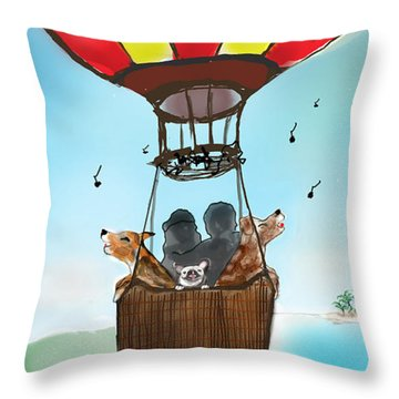 3 Dogs Singing In A Hot Air Balloon Throw Pillow