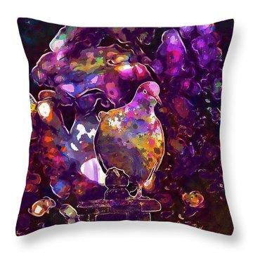 Throw Pillow featuring the digital art Dove Bird Feather Animal Plumage  by PixBreak Art