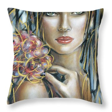 Throw Pillow featuring the painting Drama Queen 301109 by Selena Boron
