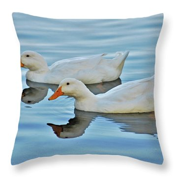 Throw Pillow featuring the photograph 3- Ducks by Joseph Keane