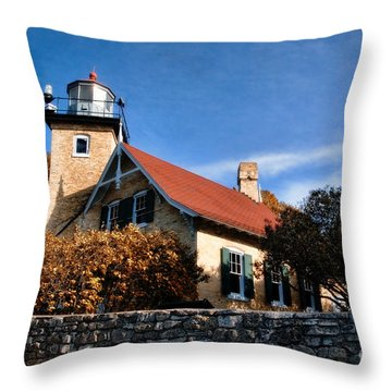 Eagle Bluff Lighthouse Throw Pillow by Joel Witmeyer