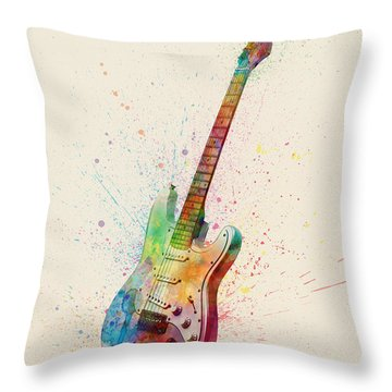 Electric Guitar Abstract Watercolor Throw Pillow