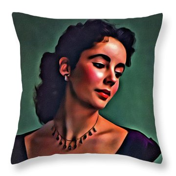 Elizabeth Taylor, Vintage Hollywood Legend By Mary Bassett Throw Pillow by Mary Bassett