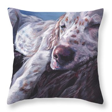 Throw Pillow featuring the painting English Setter by Lee Ann Shepard