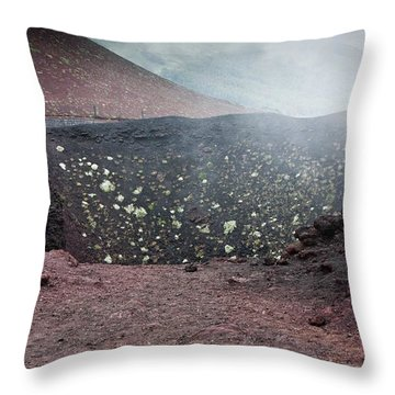 Etna, Red Mount Crater Throw Pillow