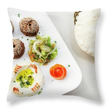 Falafel Hummus Houmus Starter Snack Food Mezze Platter Throw Pillow