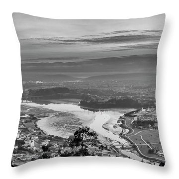 Throw Pillow featuring the photograph Ferrol's Ria Panorama From Mount Ancos Galicia Spain by Pablo Avanzini