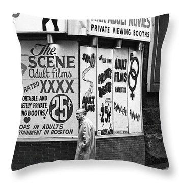 Film Homage Hard Core 1979 Porn Theater The Combat Zone Boston Massachusetts 1977 Throw Pillow