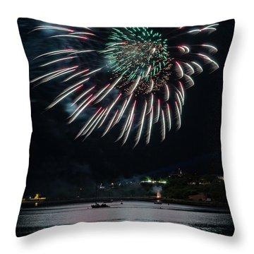Fireworks Over Portland, Maine Throw Pillow