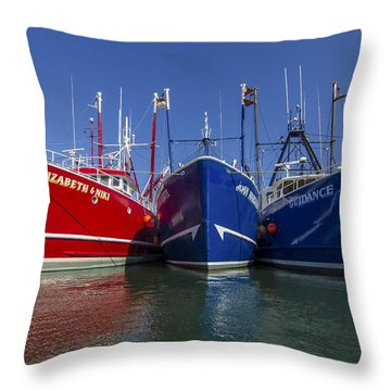 3 Fishing Boats Throw Pillow