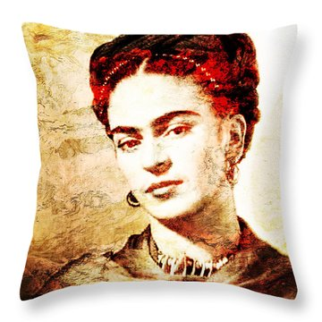 Frida Throw Pillow by J- J- Espinoza