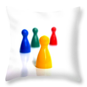 Game Pieces In Various Colours Throw Pillow by Bernard Jaubert
