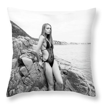 Girl In Black Swimsuit Throw Pillow