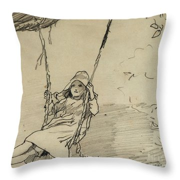 Girl On A Swing Throw Pillow by Winslow Homer