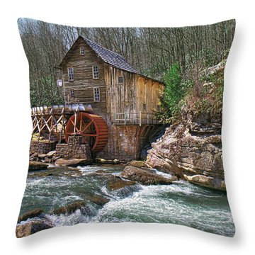 Glade Creek Grist Mill Throw Pillow by Mary Almond