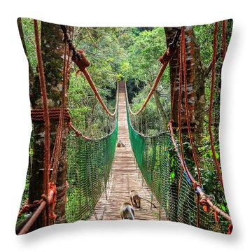 Throw Pillow featuring the photograph Hanging Bridge by Alexey Stiop