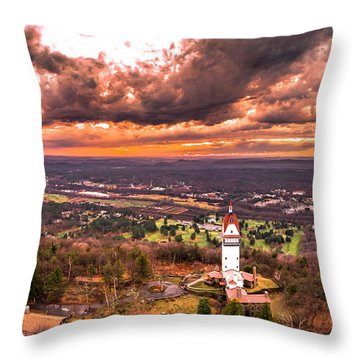 Throw Pillow featuring the photograph Heublein Tower, Simsbury Connecticut, Cloudy Sunset by Petr Hejl
