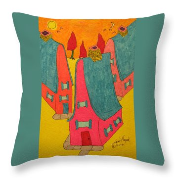 3 Homes With Three Red Trees Throw Pillow
