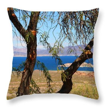 Hoover Dam Visitor Center Throw Pillow by Kathryn Meyer