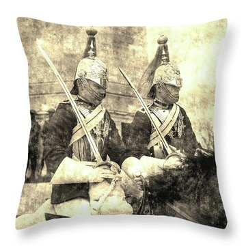 Household Cavalry Changing Of The Guard Vintage Throw Pillow