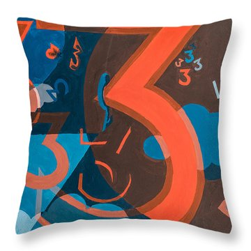 3 In Blue And Orange Throw Pillow