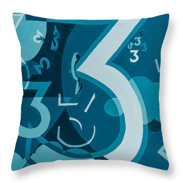 3 In Blue Throw Pillow