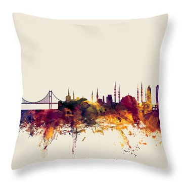Istanbul Turkey Skyline Throw Pillow