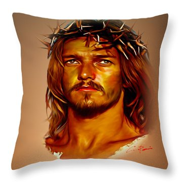 Throw Pillow featuring the digital art Jesus by Charlie Roman