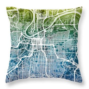 Kansas City Missouri City Map Throw Pillow