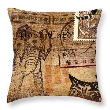 3 Kittens In The Congo Postcard Throw Pillow