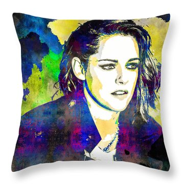Kristen Stewart Throw Pillow by Svelby Art