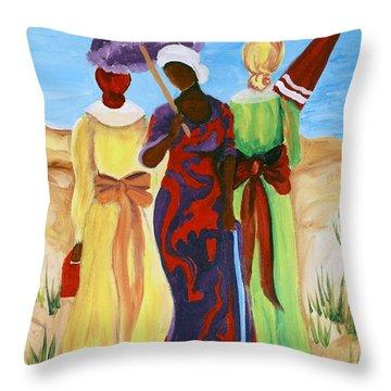 3 Ladies Throw Pillow by Diane Britton Dunham