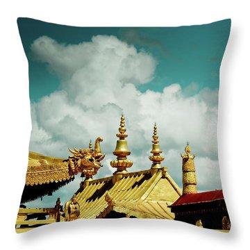 Lhasa Jokhang Temple Fragment Tibet Artmif.lv Throw Pillow