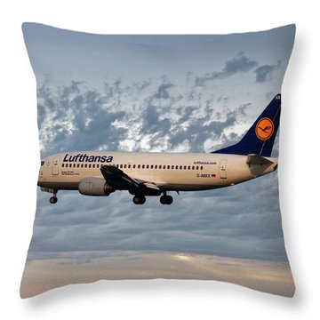 Lufthansa Boeing 737-300 Throw Pillow