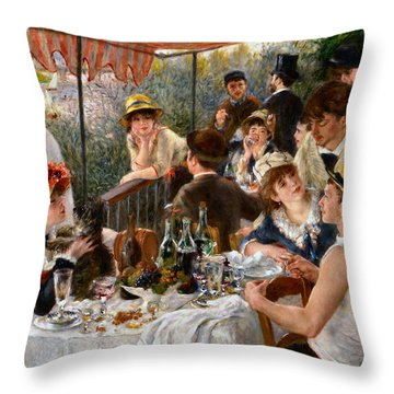 Luncheon Of The Boating Party Throw Pillow by Auguste Renoir