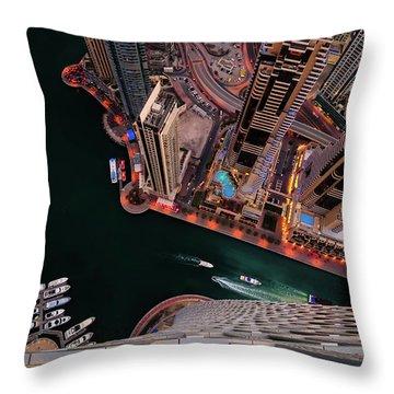 Majestic Colorful Dubai Marina Skyline During Night. Dubai Marina, United Arab Emirates. Throw Pillow