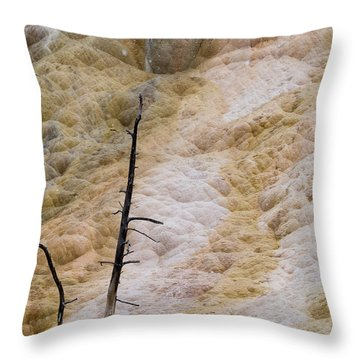 Mammoth Hot Spring Terraces Throw Pillow